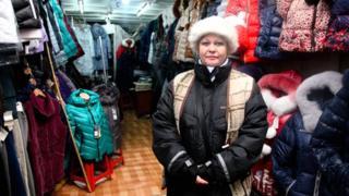 Irina, a trader in Dordoi Bazaar