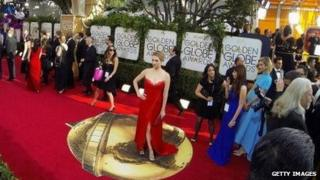 A view of the red carpet before the 2014 Golden Globe Awards.