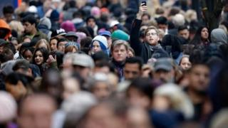 Crowds in central London