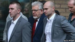 Rolf Harris (centre, with red tie) outside Southwark Crown Court on 14 January 2014