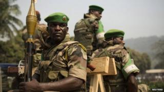 Soldiers from the African Union peacekeeping mission in Bangui