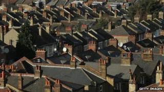 Rooftops of houses in south London