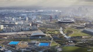 Aerial shot over Queen Elizabeth Park