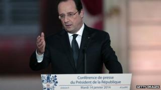 French president Francois Hollande speaks during a press conference to present his 2014 policy plans at the Elysee presidential palace on January 14, 2014, in Paris, France.