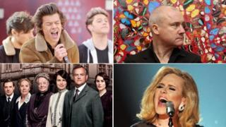 Clockwise: One Direction, Damien Hirst at Tate Modern, Adele, Downton Abbey