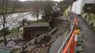 Calstock collapsed road