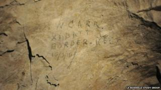 The name of William Carr, dated 16 March 1916 on the wall in W Shaft Chamber