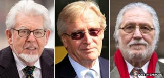 Composite image of Rolf Harris, William Roache and Dave Lee Travis