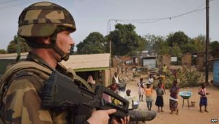 A French soldier in Bangui (15 January 2014)