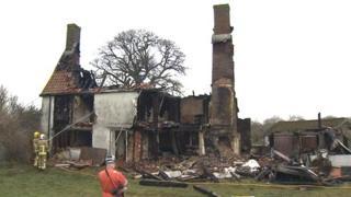 Derelict house fire in Redgrave, Suffolk