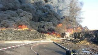 Tyre fire at Sherburn in Elmet