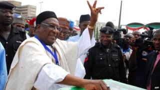 Bamanga Tukur voting at a PDP convention in March 2012