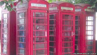 Traditional red telephone boxes