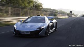 McLaren P1 supercar on race track