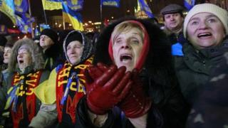 Pro-European integration protesters attend a rally at Independence Square in Kiev