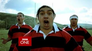 An image from a BBC Wales identity clip showing three rugby players performing the Haka
