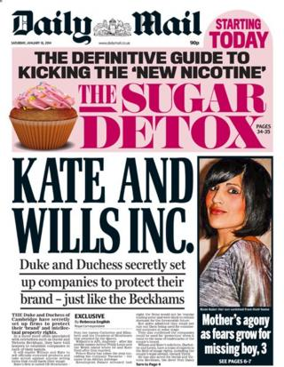Daily Mail front page 18/1/14
