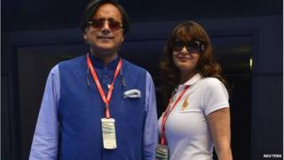 Sunanda Puskhar Tharoor (R) and Shashi Tharoor at the Indian F1 Grand Prix in Delhi, October 27, 2013