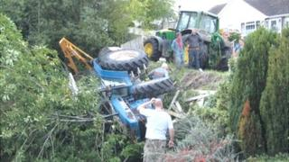 Tractor overturned