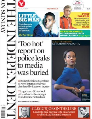 Independent on Sunday front page 19/1/14