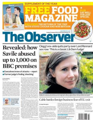 Observer front page 19/1/14