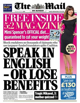 Mail on Sunday front page 19/1/14