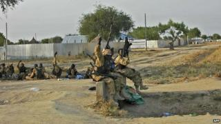 South Sudanese army troops, Bor, 18 Jan