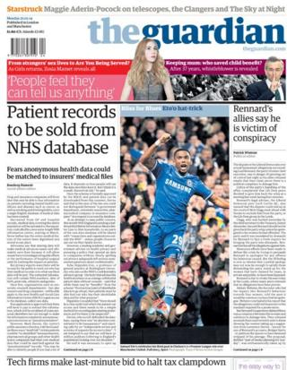 Guardian front page 20/1/14