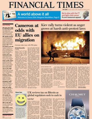 Financial Times front page 20/1/14