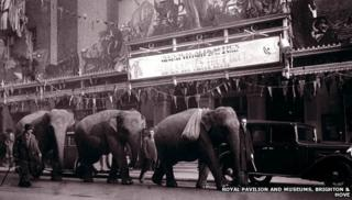 Elephants outside the Brighton Hippodrome
