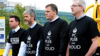 Police Fed reps wearing PC Pleb t-shirts