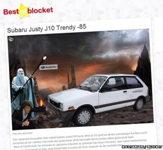 A webpage showing a photo of a car, David Hasselhoff, and Gandalf