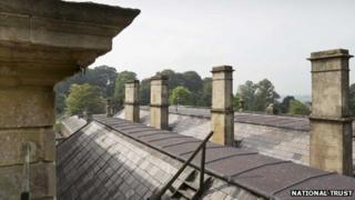 Dyrham Park roof with view to countryside