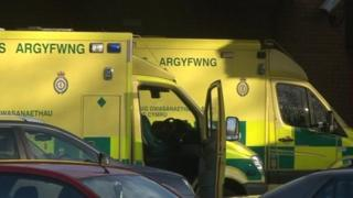 Ambulances outside Princess of Wales Hospital on 16 January