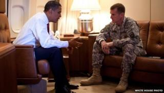 President Barack Obama (left) meeting Gen Stanley McChrystal in 2009