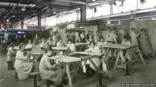 Workers at HH Martyn, Gloucester, during World War One and the factory as it is now
