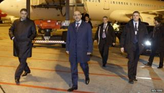 "Leader of Syria""s opposition National Coalition arrive for the Geneva II talks on Syria"