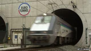 Train leaving Channel Tunnel