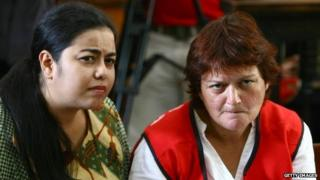Andrea Waldeck attends a hearing for drug trafficking charges in Surabaya, Indonesia