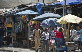 A busy shopping street in Kingston, Jamaica