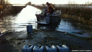 The supply boat bound for Muchelney being loaded