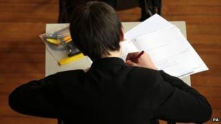 Pupil sitting maths exam