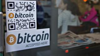 Sign advertising Bitcoin
