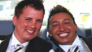 Michael and Paul Atwal-Brice on the day of their civil partnership