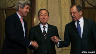 John Kerry, UN's Ban Ki-moon and Russia's Sergey Lavrov, Montreux