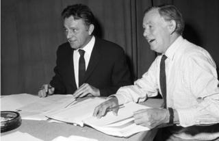 Richard Burton, the Narrator, with Douglas Cleverdon, BBC producer.