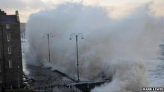 High waves hit Aberystwyth seafront