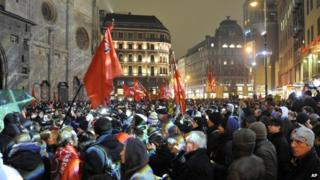 Demonstrators gather to oppose a ball being hosted at the Hofburg palace by the right-wing FPOE party, Friday, 24 January, 2014, in downtown Vienna, Austria