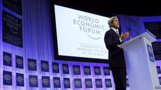 US Secretary of State John Kerry delivers a speech at the World Economic Forum in Davos on 24 January 2014