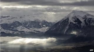 Swiss mountains from above